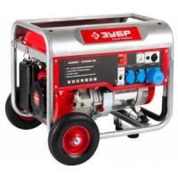 Генератор ЗУБР бензиновый, 4-х тактный, ручной пуск, колеса + рукоятка, 5500/5000Вт, 220/12В